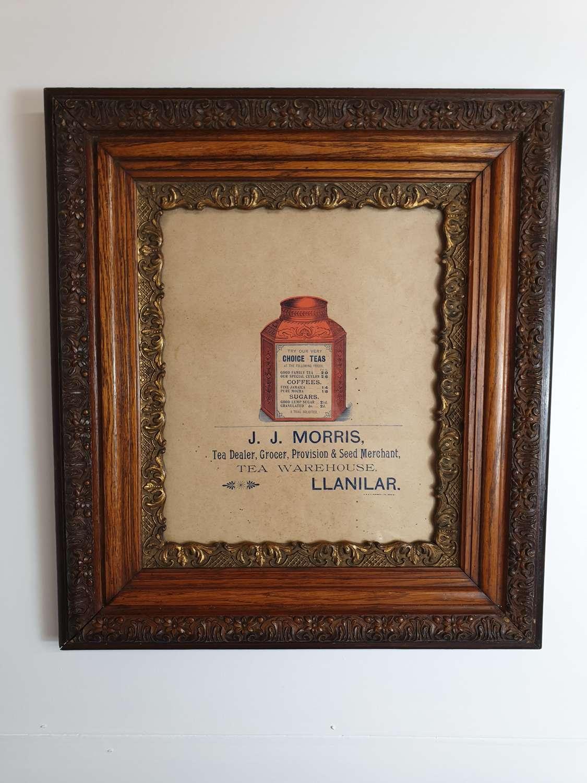 Old J J Morris Llanilar Shop Tea Advert in Frame