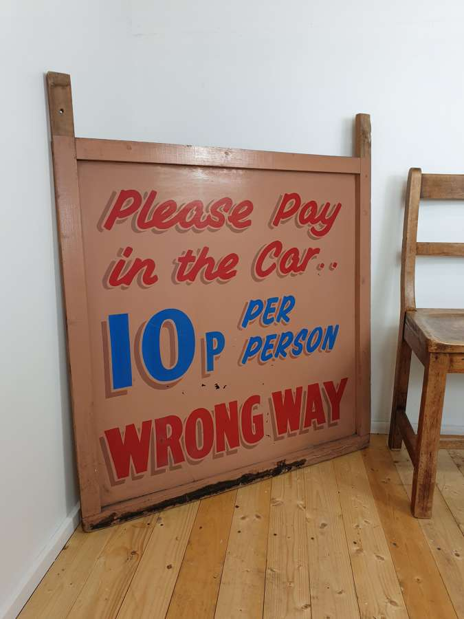 Vintage Fairground Dodgems Folk Art Car Sign