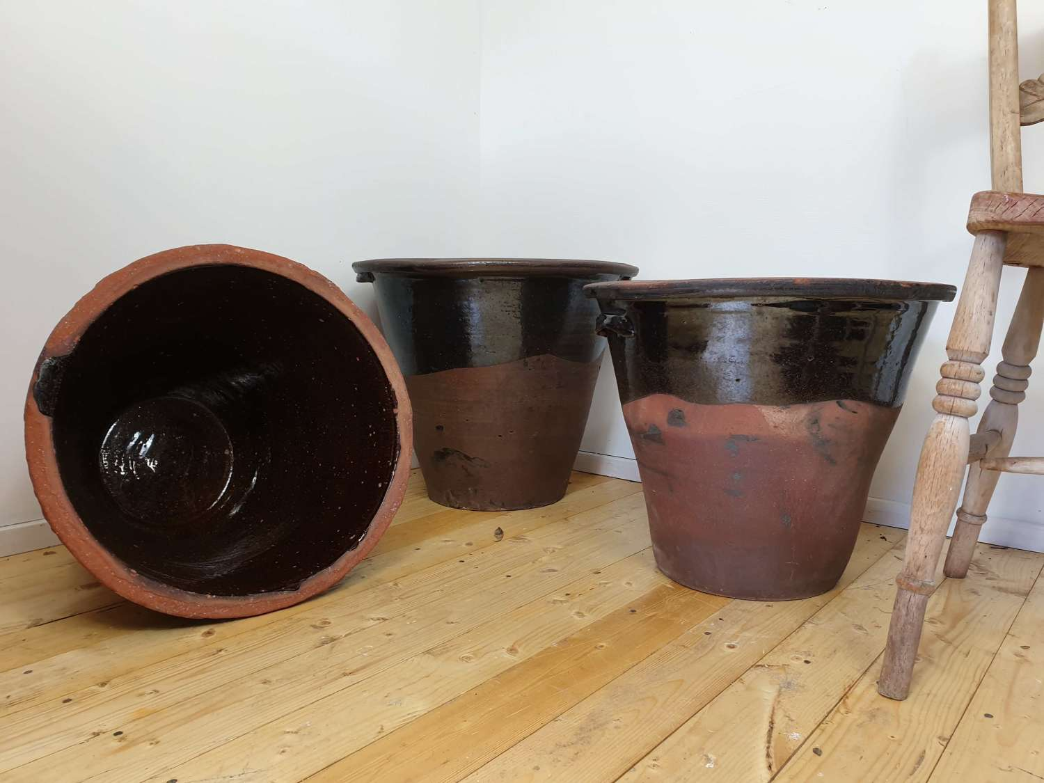 19th Century Welsh Lead Glazed Dairy Pots Set of 3