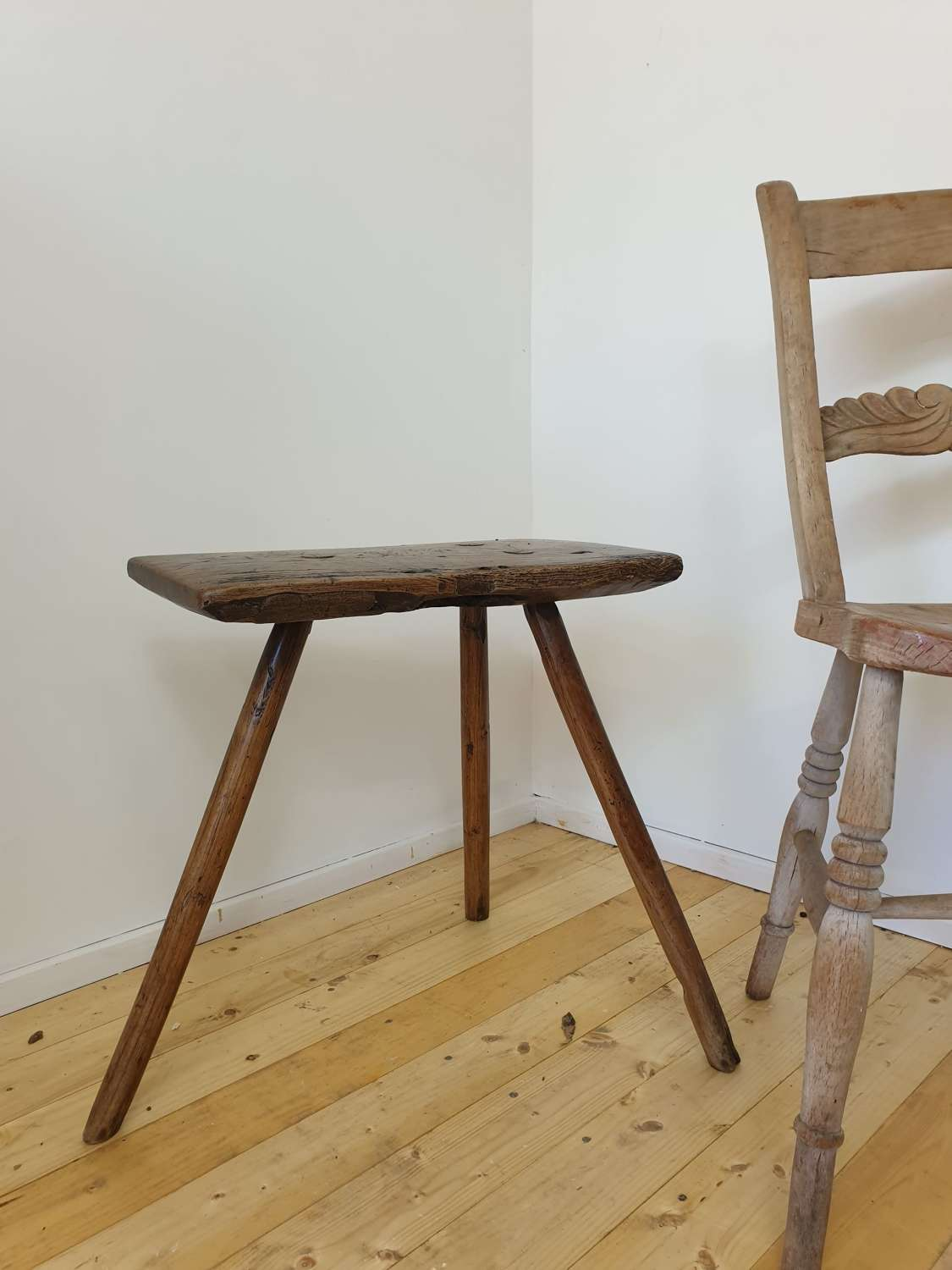 19th Century Ash Cutler Stool
