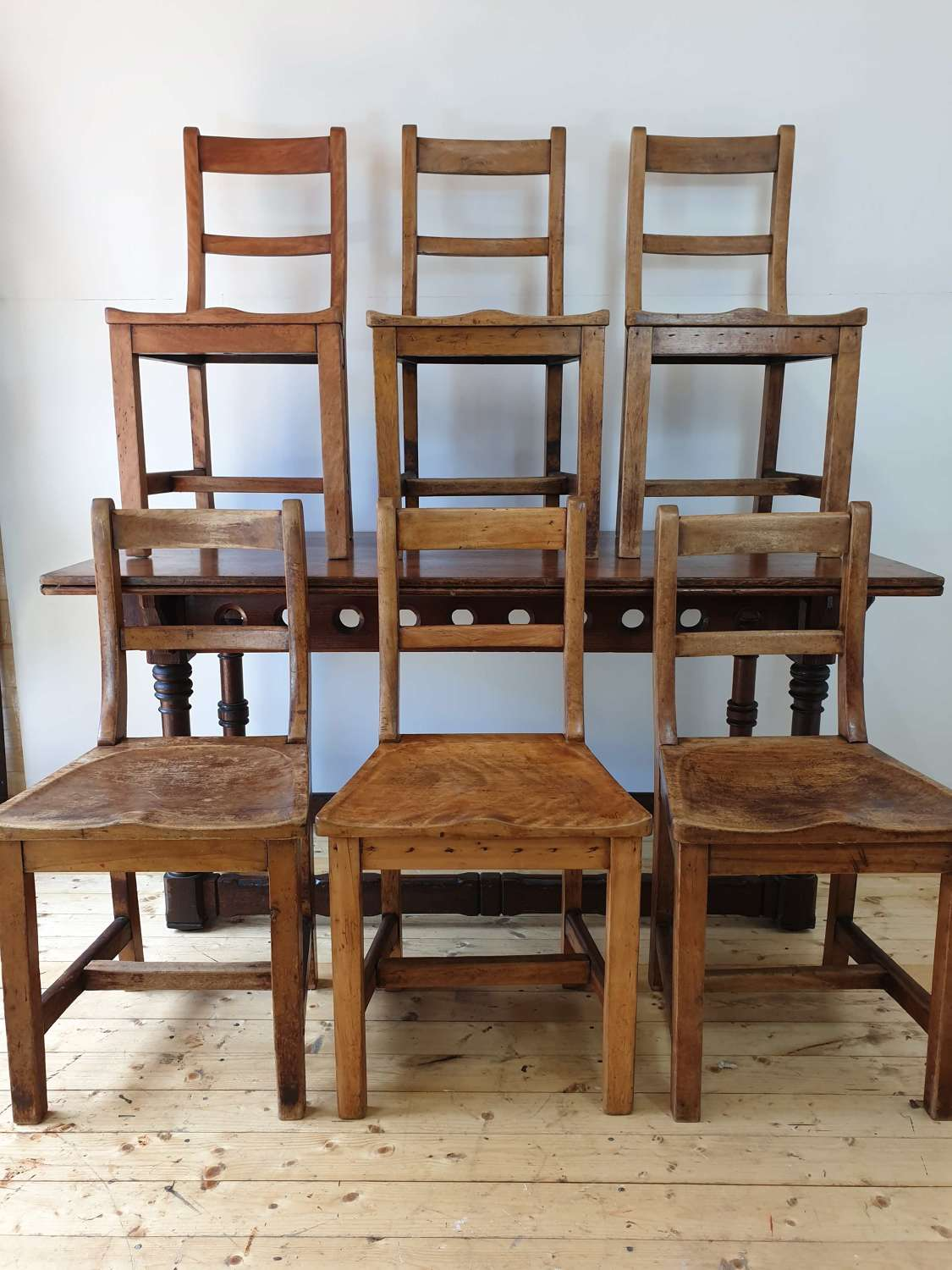 Set of 6 Eton College Maple and Beech Chairs