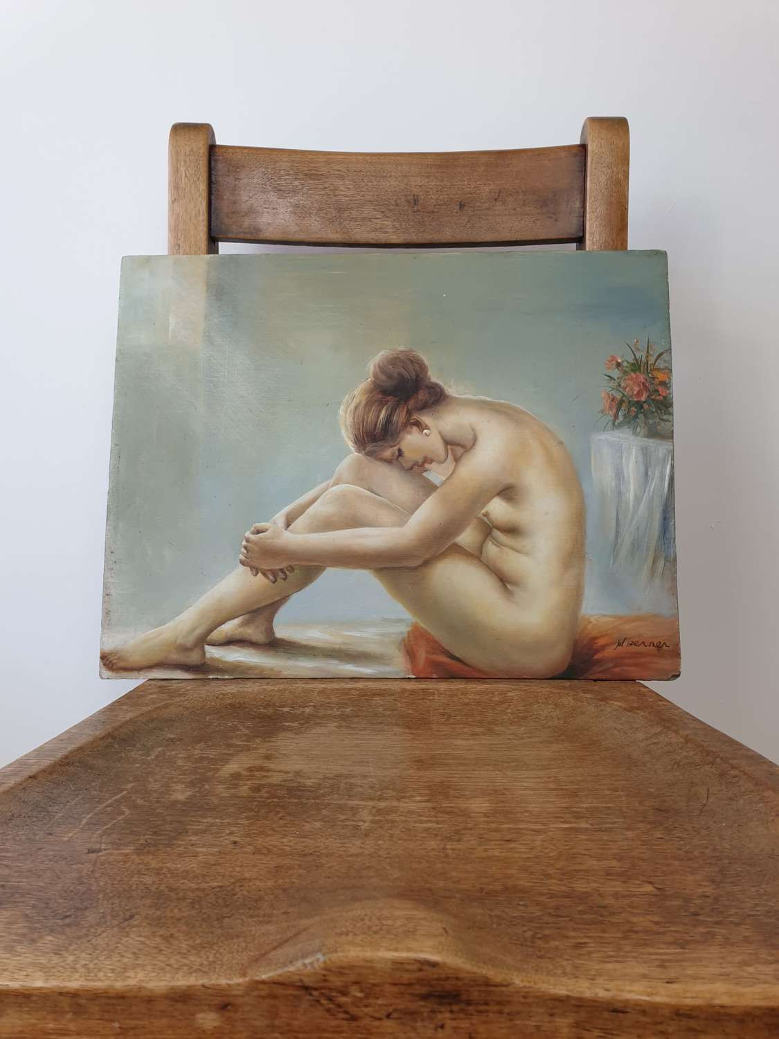 1960s Nude Female Oil on Board Painting