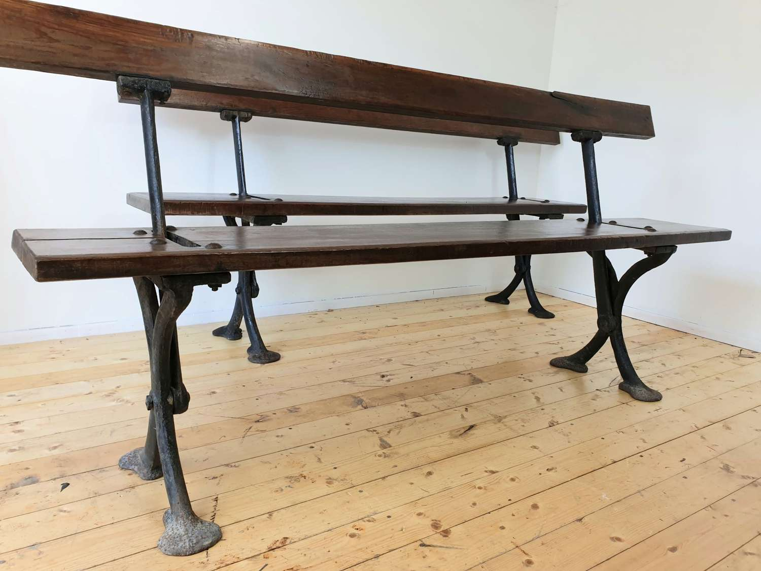 Pair of Welsh Pitch Pine Tram Railway Swing Benches