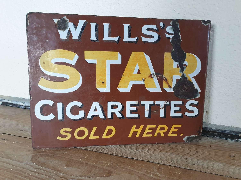 Wills's Star Cigarettes Enamel Sign