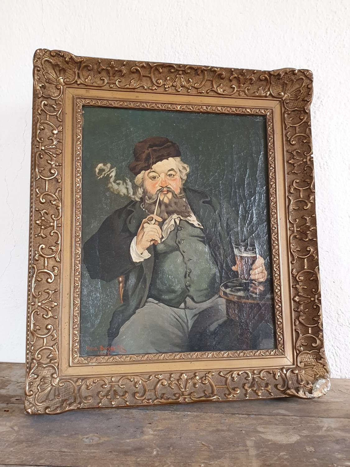 Old Antique Oil on Canvas Portrait