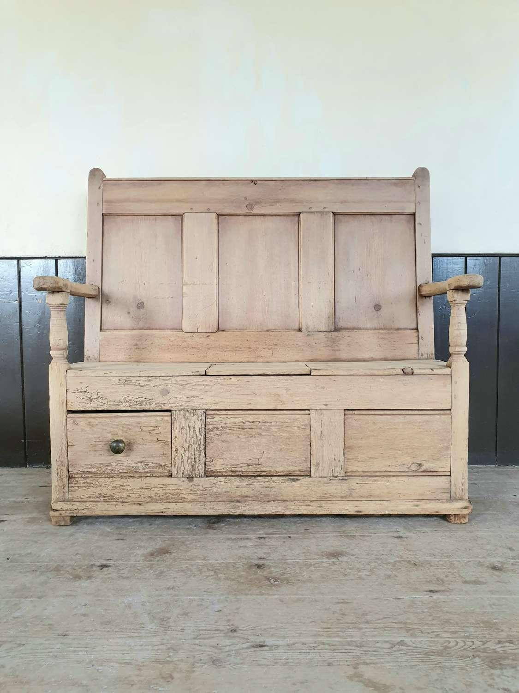 19th Century Welsh Pine Box Settle
