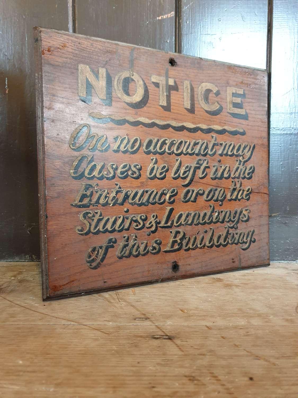 Handwritten Notice Wooden Sign