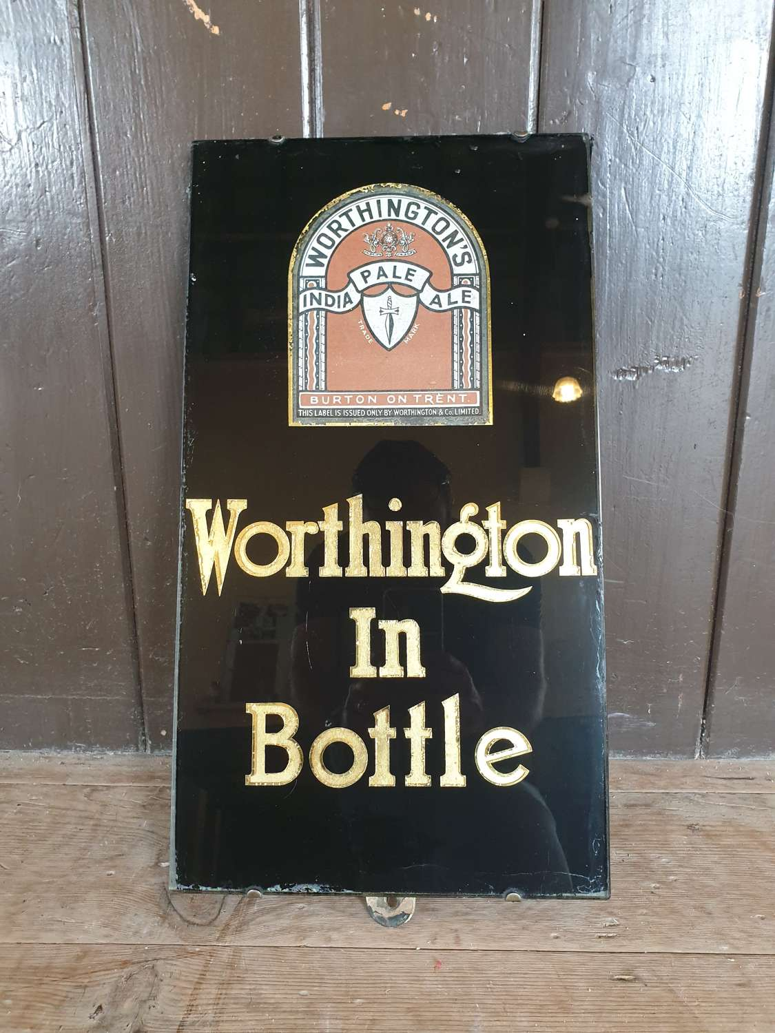 1940's Slate and Glass Worthington Beer Advertising Sign