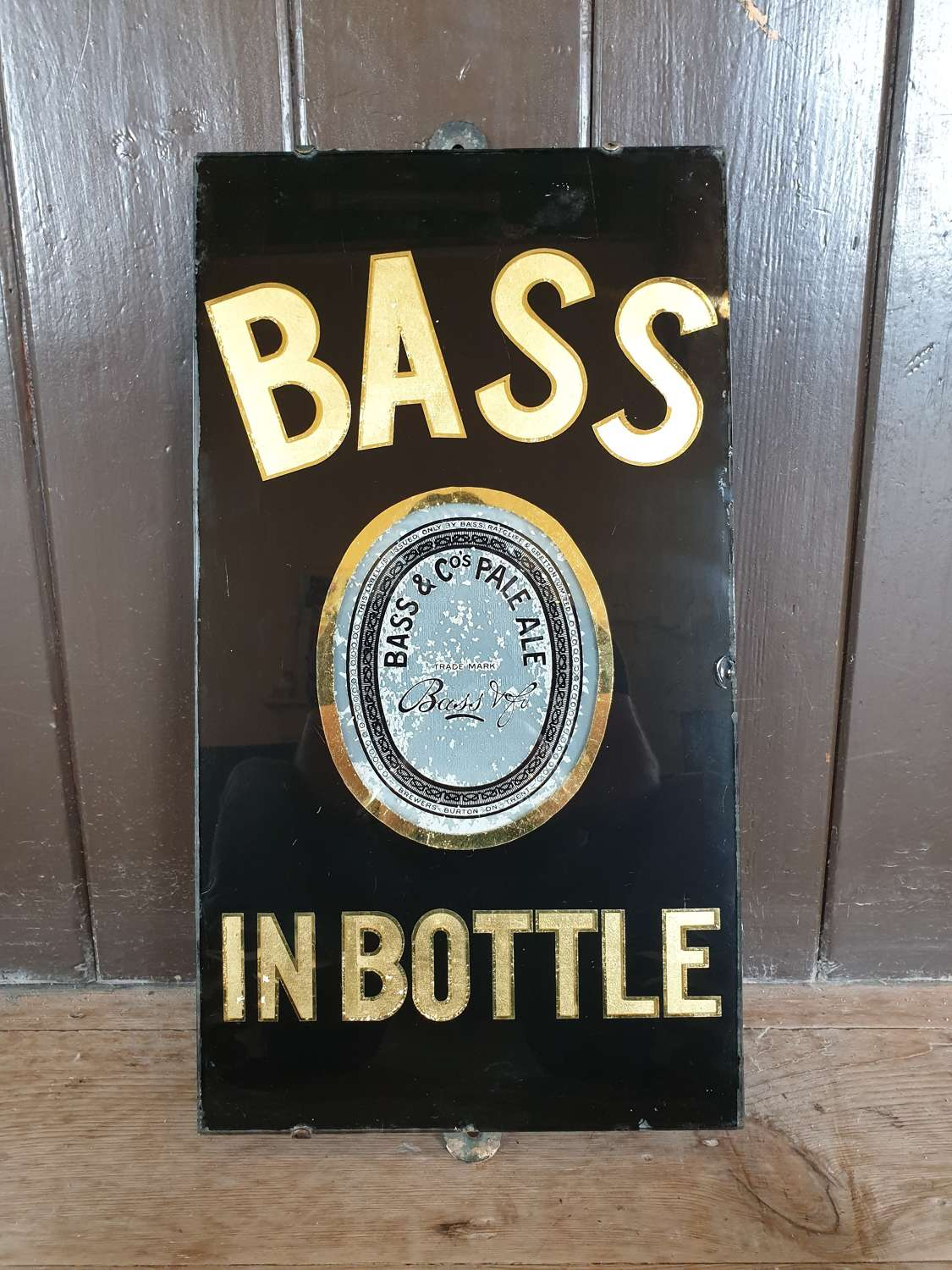 1940's Slate and Glass Bass Ale Advertising Sign