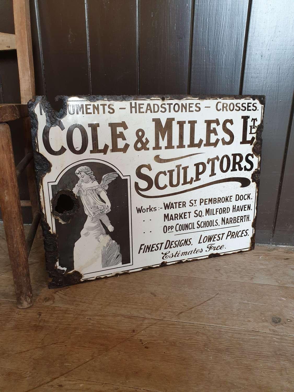 Rare Welsh Sculptors enamel sign
