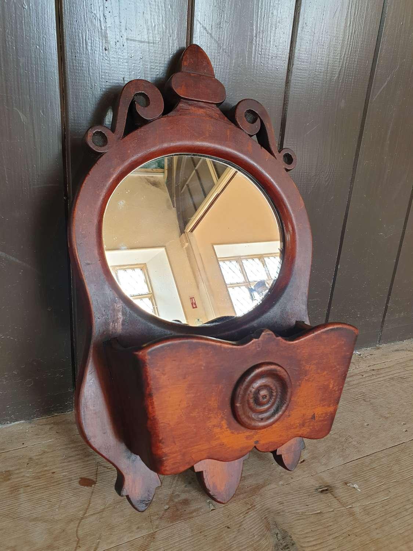 Welsh folk art wall pocket mirror