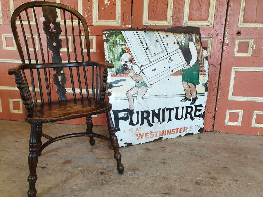 Rare Furniture Enamel Sign