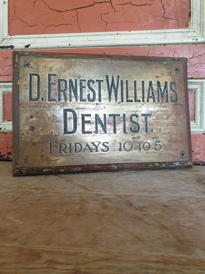 Brass Dentist Plaque