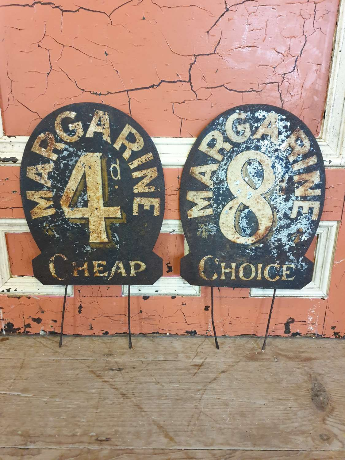 Victorian Grocers Tin Shop Price Signs