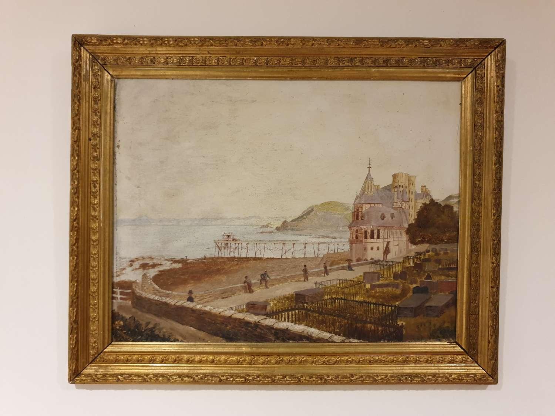 Rare 19th Century Aberystwyth Artisan Oil Painting Welsh Primitive