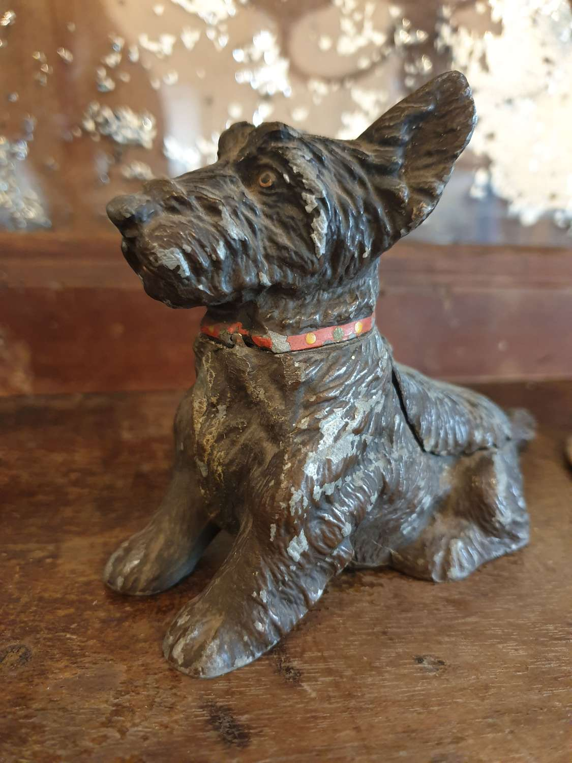 Spelter Art Deco Cold Painted Terrier Table Vesta and Ashtray