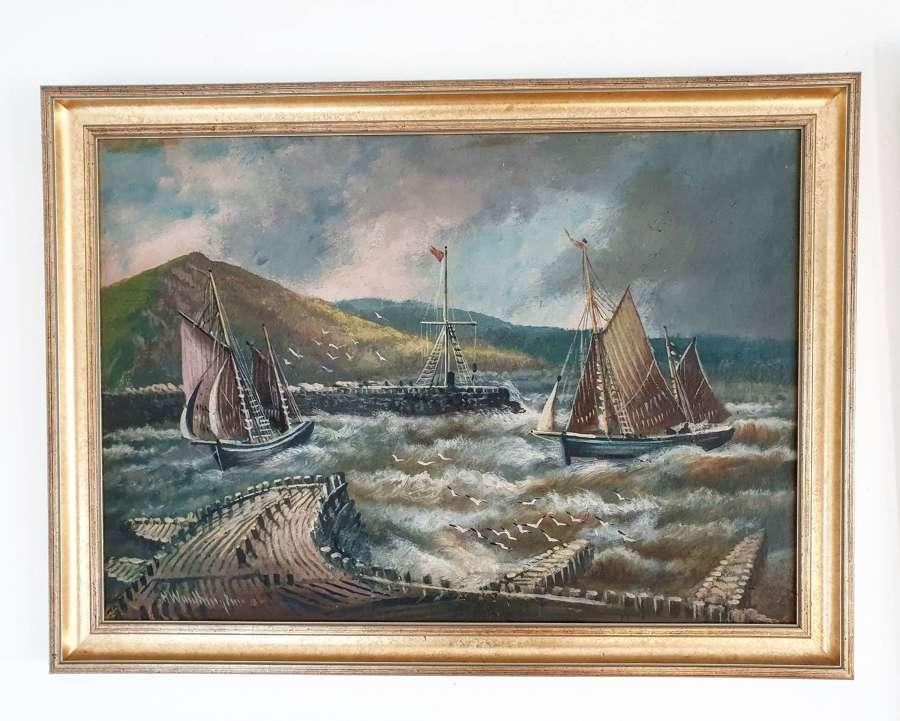 Seascape By Alfred Worthington Of Aberystwyth