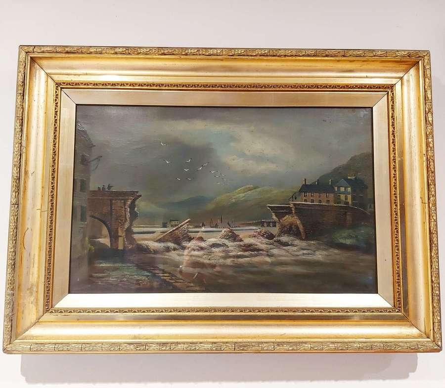 Trefechan Bridge Aberystwyth After The Flood By Alfred Worthington