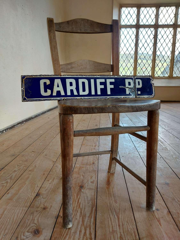 Cardiff Road Enamel Street Sign