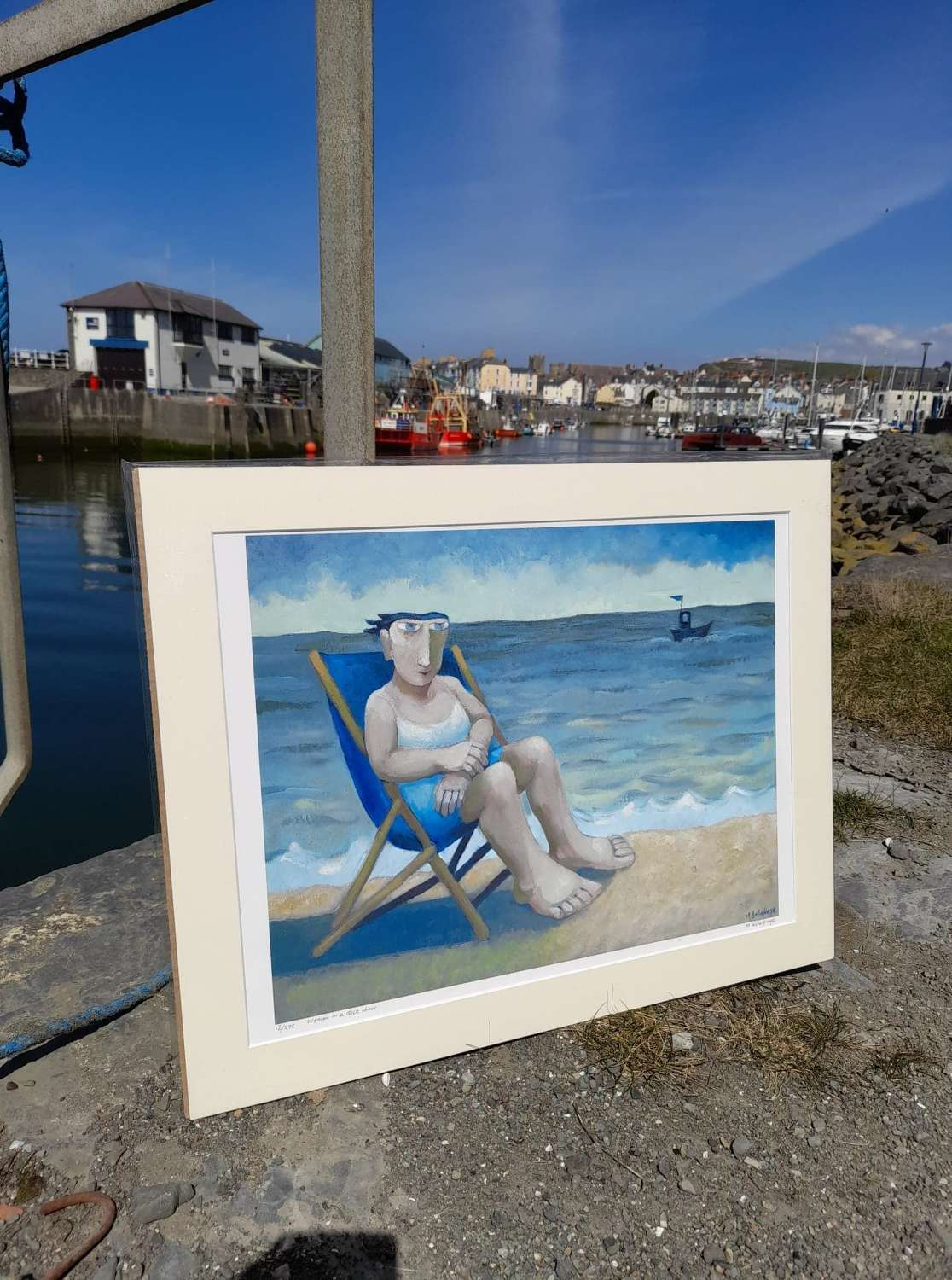 Muriel Delahaye Signed Giclee Print 'Woman in a Deckchair'
