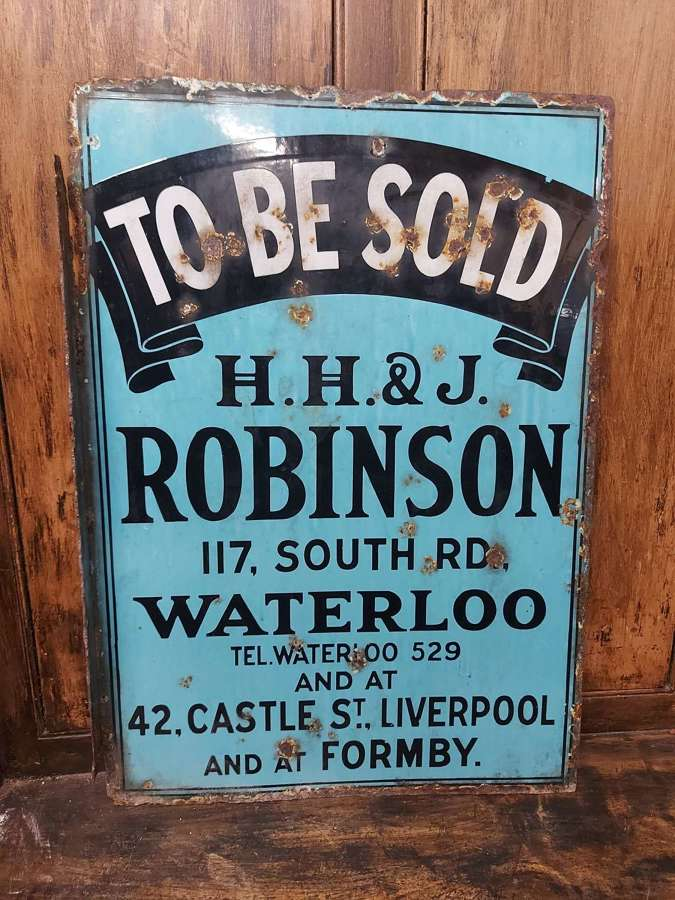 To Be Sold Enamel Sign